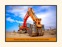 A premium poster of a Doosan Heavy Duty Front End Track Loader