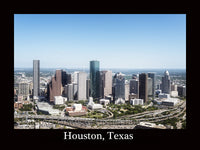 Houston Skyline an Aerial View from 2014 with a black border Art Print