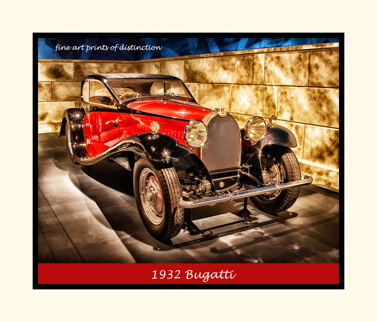 A premium poster of a 1932 Red Bugatti Antique Car