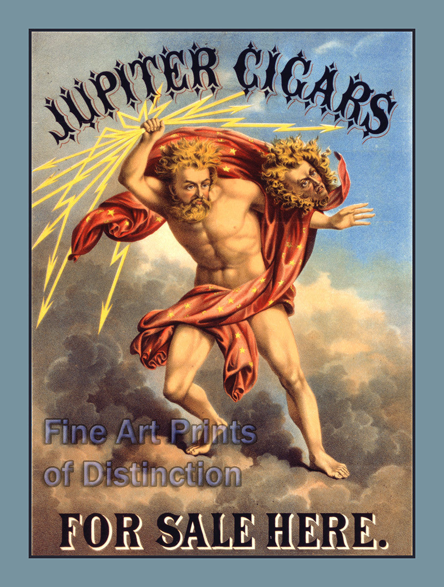 Jupiter Cigars Sold Here Advertising Poster from 1868
