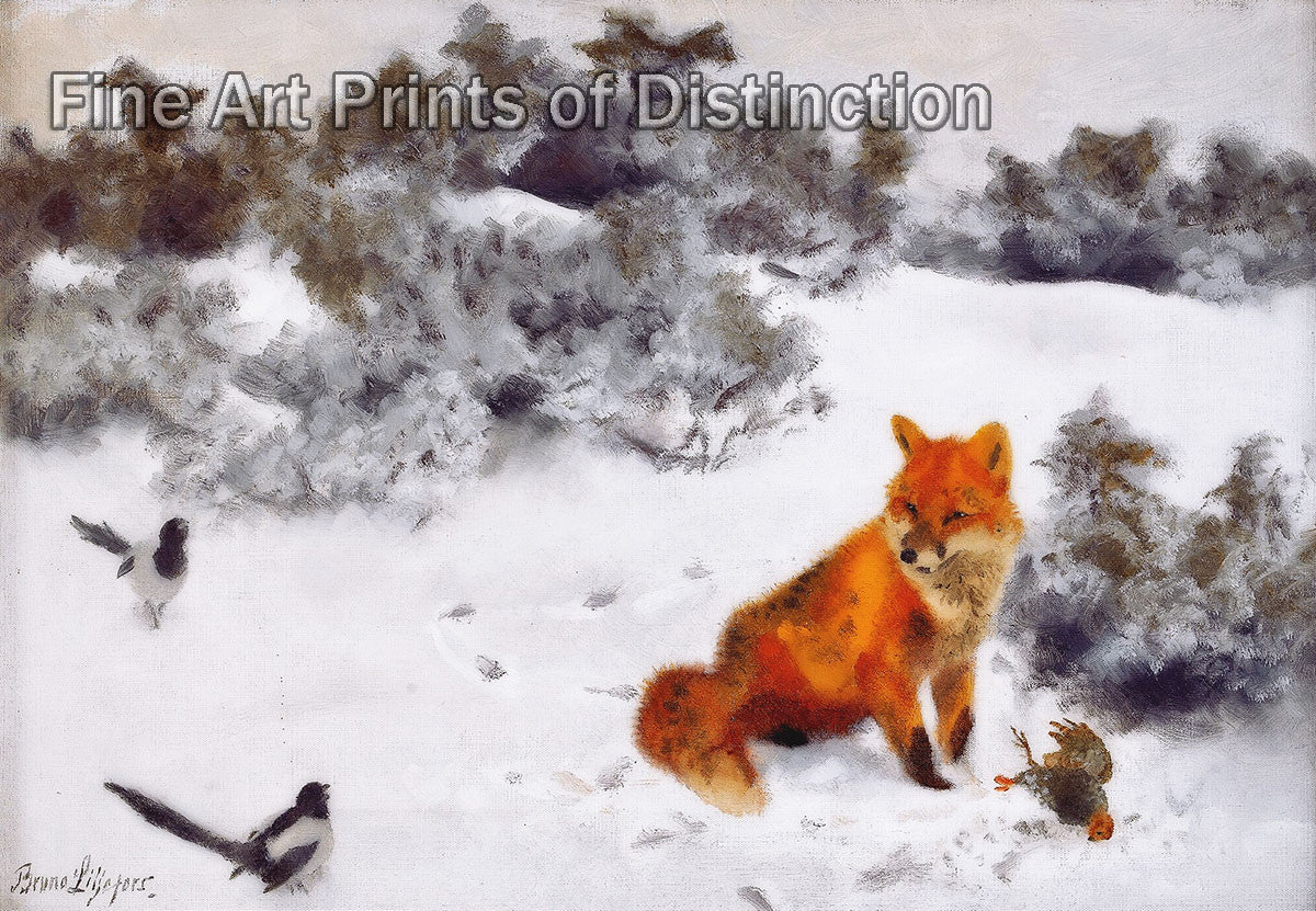 Fox with Birds in a Winter Landscape painted by Swedish Wildlife Artist Liljefors