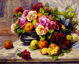 Still Life with Fruit and Roses painted by artist Georges Jeannin