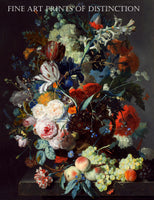 Still Life with Flowers, Peaches and Grapes painted by the Dutch artist Jan Van Huysum in 1715