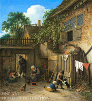 The Cottage Door Yard painted by Dutch artist Adriaen van Ostade in 1673