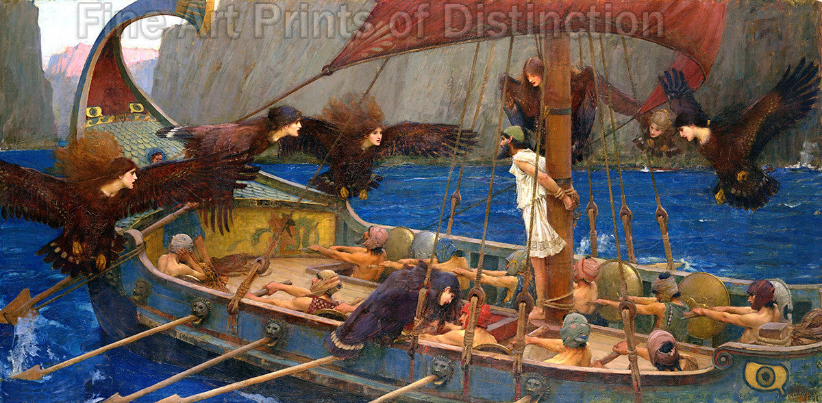 Ulysses and the Sirens by John William Waterhouse Art Print