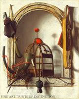 Niche with Falconry Gear painted by Dutch artist, Christoffel Pierson sometime in the 1660s.