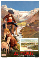 The Pyrenees Mountains Travel Poster