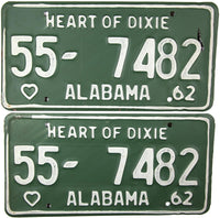 1962 Alabama License Plates