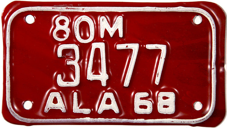 1968 Alabama Motorcycle License Plate