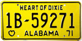 1971 Alabama License Plate Excellent Condition