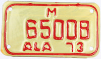 1973 Alabama motorcycle license plate which will grade excellent
