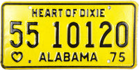 1975 Alabama License Plate