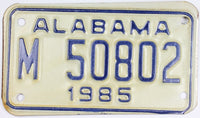 1985 Alabama Motorcycle License Plate that is in excellent minus condition