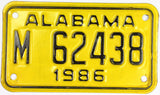 1986 Alabama Motorcycle License Plate in NOS excellent minus condition