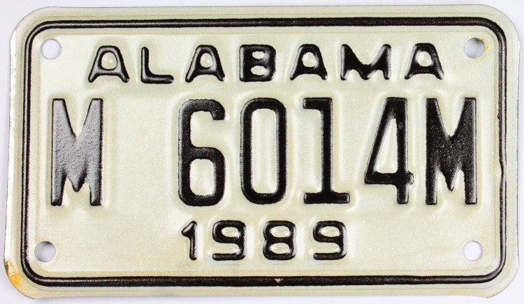 1989 Alabama Motorcycle License Plate from the Heart of Dixie state which grades excellent plus