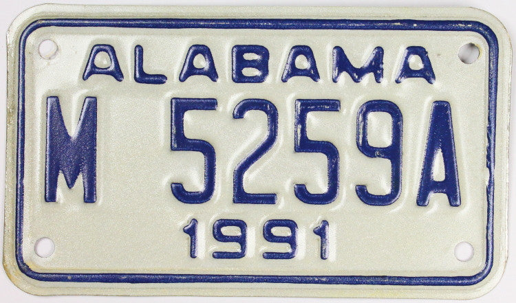 1991 Alabama Motorcycle License Plate which is in excellent plus condition