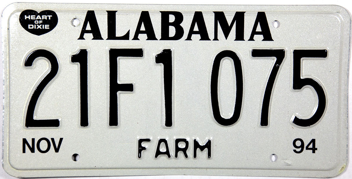 1994 Alabama Farm License Plate