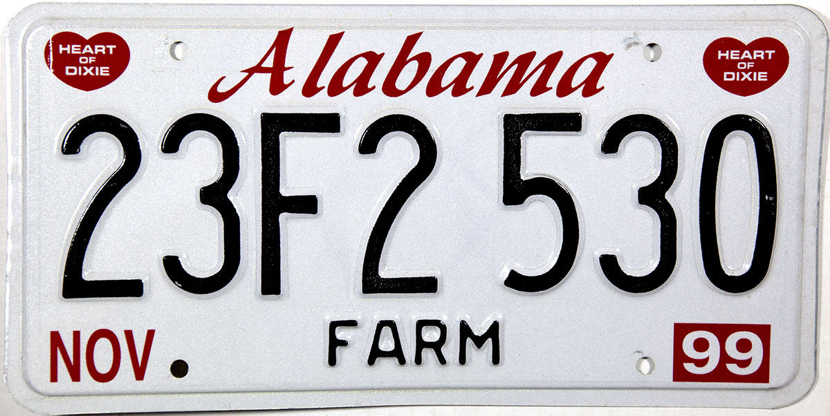 1999 Alabama Farm License Plate