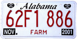 2001 Alabama Farm License Plate