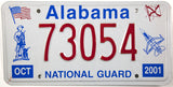 2001 Alabama National Guard License Plate