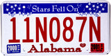 2001 Alabama Stars Fell License Plate