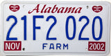 2002 Alabama Farm License Plate
