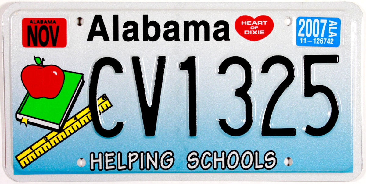 2007 Alabama Helping Schools License Plate