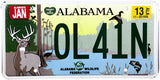 2013 Alabama Wildlife Federation License Plate