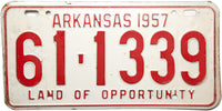 1957 Arkansas License Plate