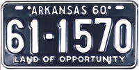 1960 Arkansas License Plate