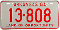 1961 Arkansas License Plate