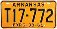 1961 Arkansas Trailer License Plate