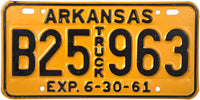 1961 Arkansas Truck License Plate B Prefix