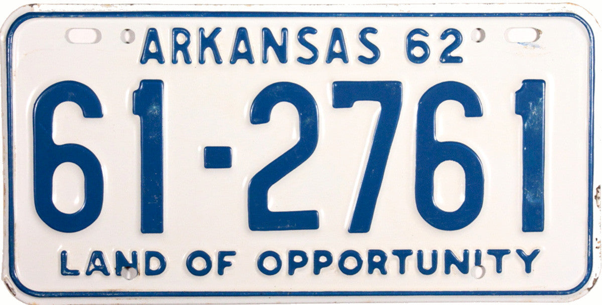 1962 Arkansas License Plate