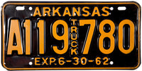 1962 Arkansas Truck License Plate