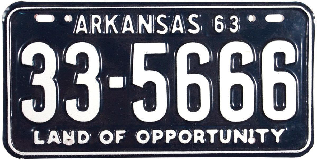 1963 Arkansas License Plate