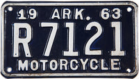 1963 Arkansas Motorcycle License Plate