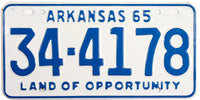 1965 Arkansas License Plate