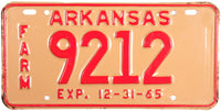 1965 Arkansas Farm License Plate