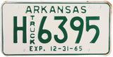 1965 Arkansas Truck License Plate