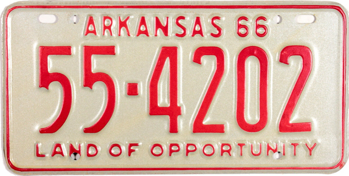 1966 Arkansas License Plate