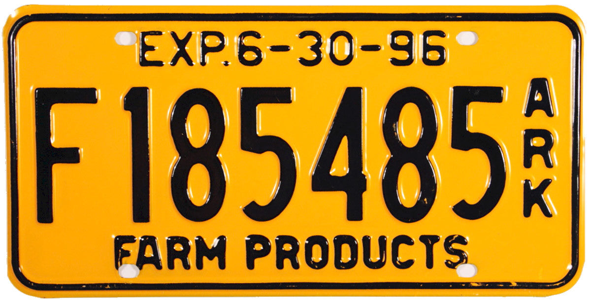 1996 Arkansas Farm License Plate