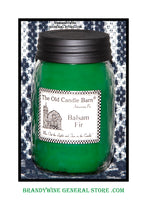 Balsam Fir scented primitive pint candle jar made by the Old Candle Barn