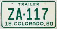 1960 Colorado Trailer License Plate