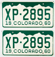 1960 Colorado passenger car license plates