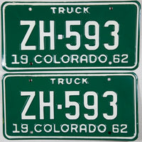1962 Colorado Truck License Plates