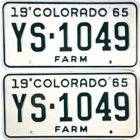 1965 Colorado Farm License Plates