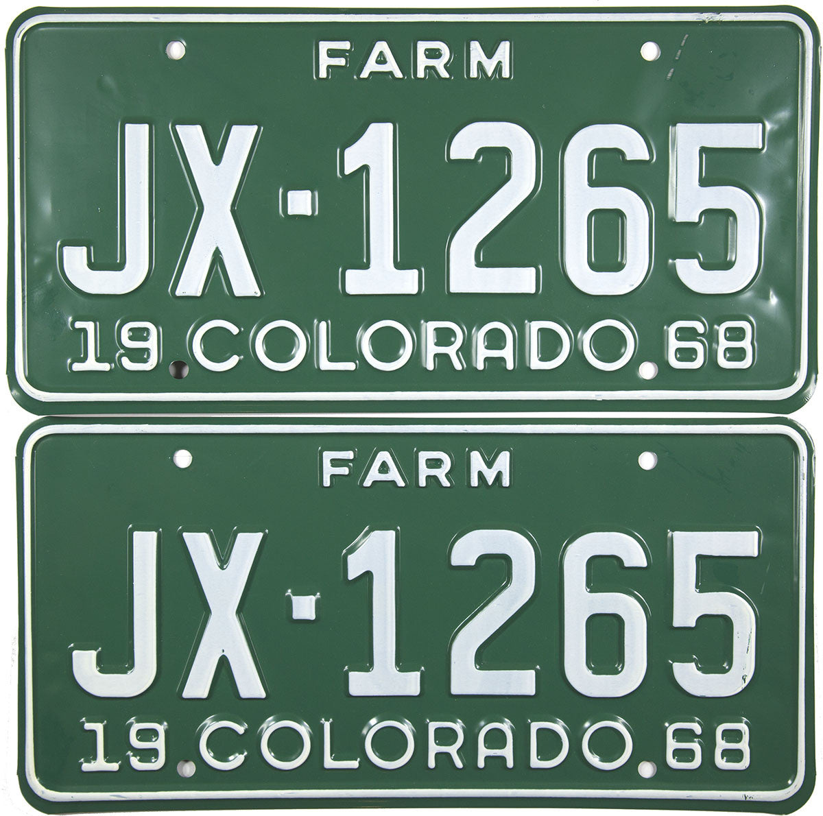 1968 Colorado Farm License Plates