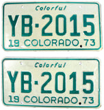 1973 Colorado License Plates