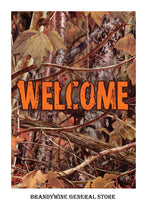 Fall Welcome Flag with Camoflauge